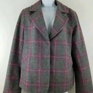 Talbots Blazer Jacket size 12 Gray and Pink